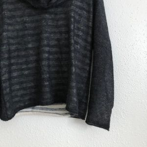 Anthropologie Sweaters - Anthro Moth Cowl Neck Striped Wool Sweater Grey MP